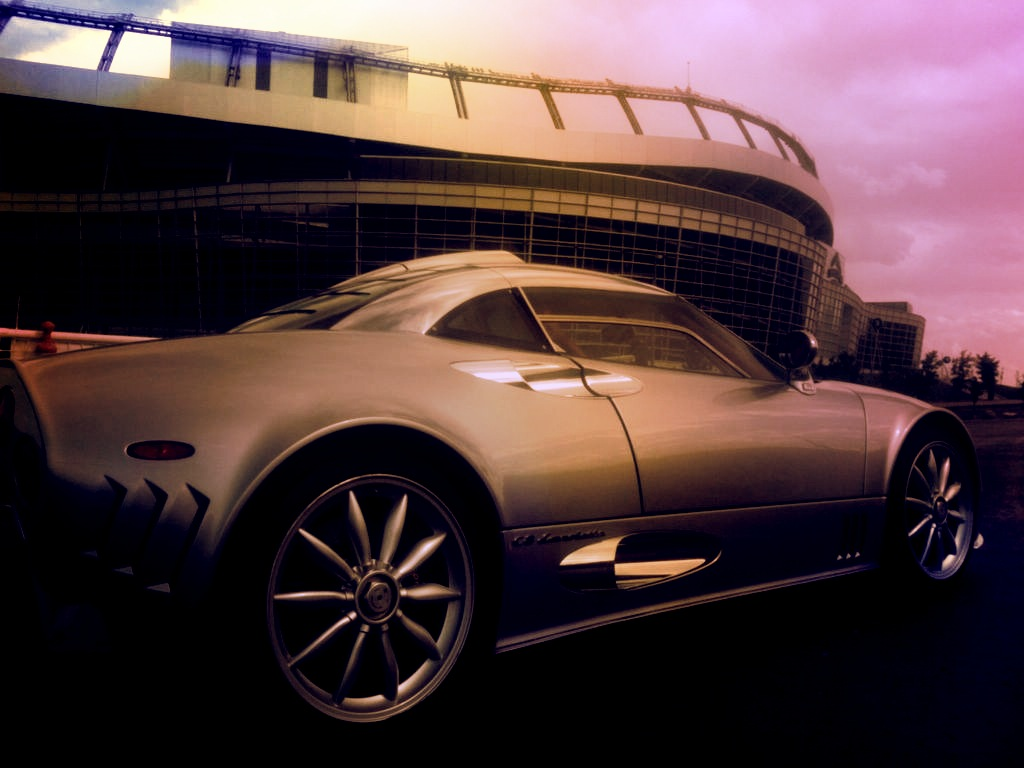 Spyker Car in front of Invesco Field at Mile High